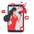 Beautiful woman shouting in loud speaker with social media icons. Influencer social media marketing concept and blogger  vector illustration