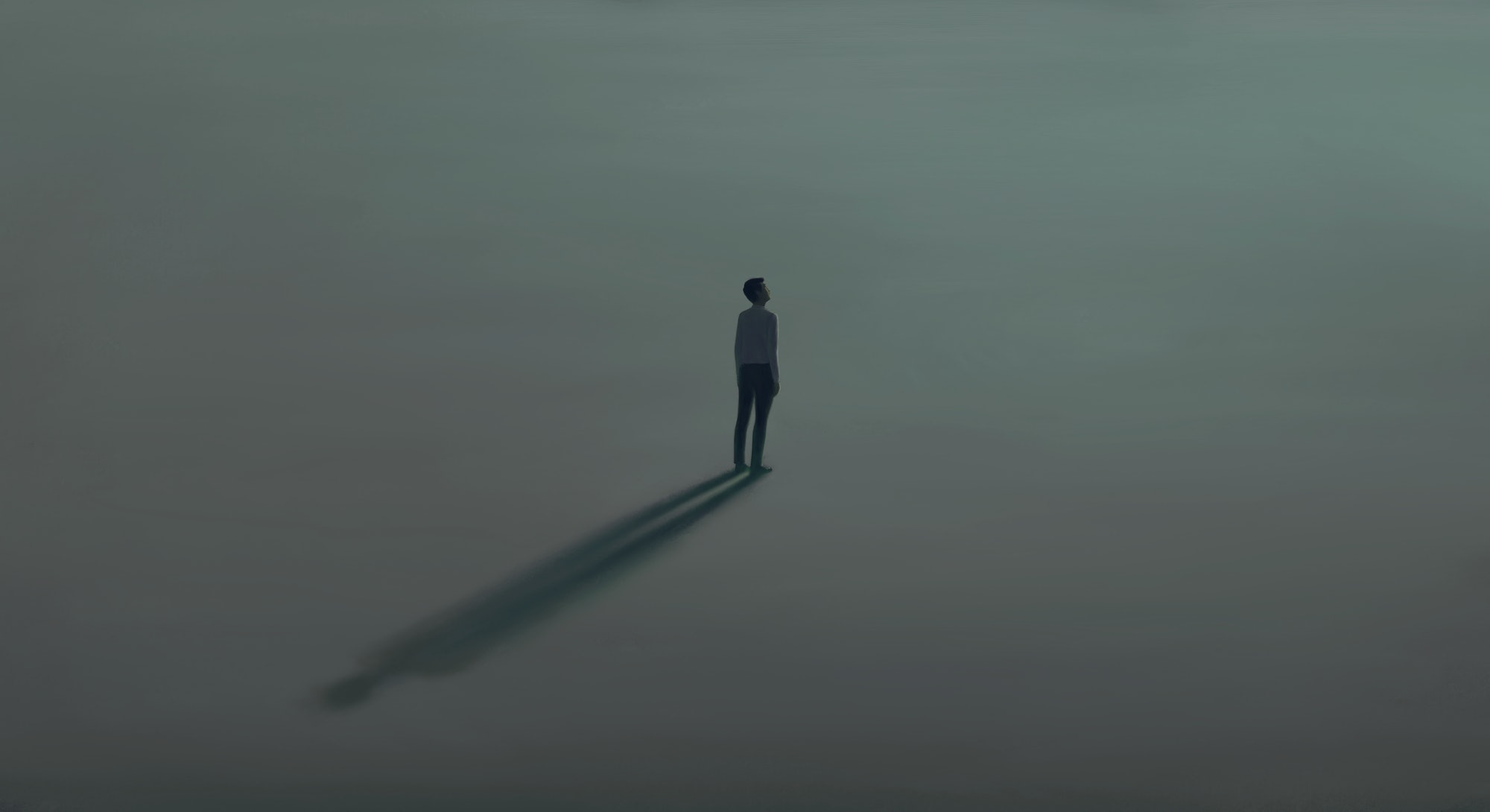 Man alone with the light. Surreal painting hope lonely and loneliness concept. minimal illustration