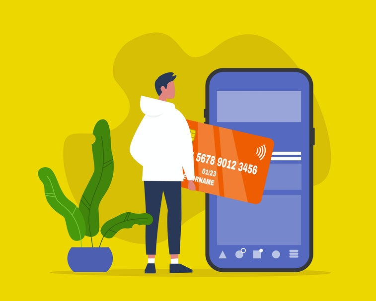 Mobile contactless payment. Online shopping. New technologies. Male Millennial character holding a bank credit card. Flat editable vector illustration, clip art