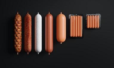 Smoked sausage stick, dry salami sausage, doctor sausage, plastic tray of fresh raw sausages isolate...
