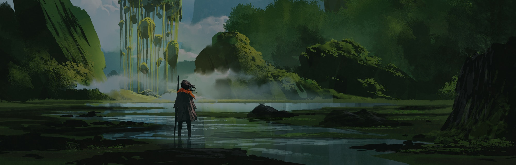 woman standing on creek looking at the mystery rock floating in midair, digital art style, illustrat...