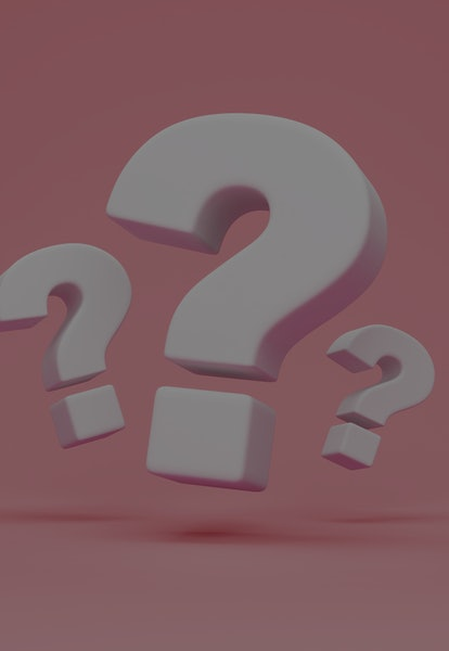 Group of  Question Marks on pink studio background. 3D Rendering