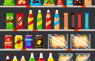 Supermarket, store shelves with groceries products. Fast food snack and drinks with price tags on th...
