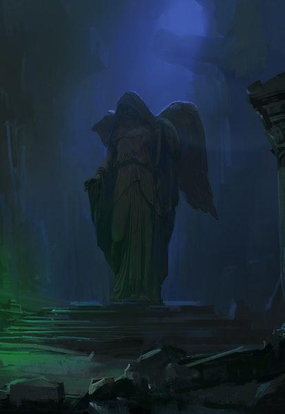 Wizard in the dark dungeon, digital painting.