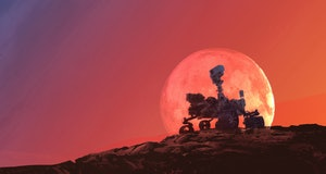 exploration red planet on mars rover, Elements of this image furnished by NASA 3d illustration.