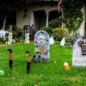 These Home Depot Halloween decorations include spooky skeletons and witches.
