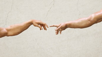 Hands reaching gesture, creation of adam wall paintings. 3D textured illustration of two male hands ...
