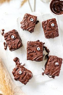 Halloween Chocolate Brownies with spooky eyes
