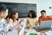 Four diverse multiracial young happy colleagues students business startup gen z team discussing proj...