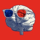 Monochrome blue retro engraving human brain with stereoscopic 3d eyeglasses vector illustration in f...