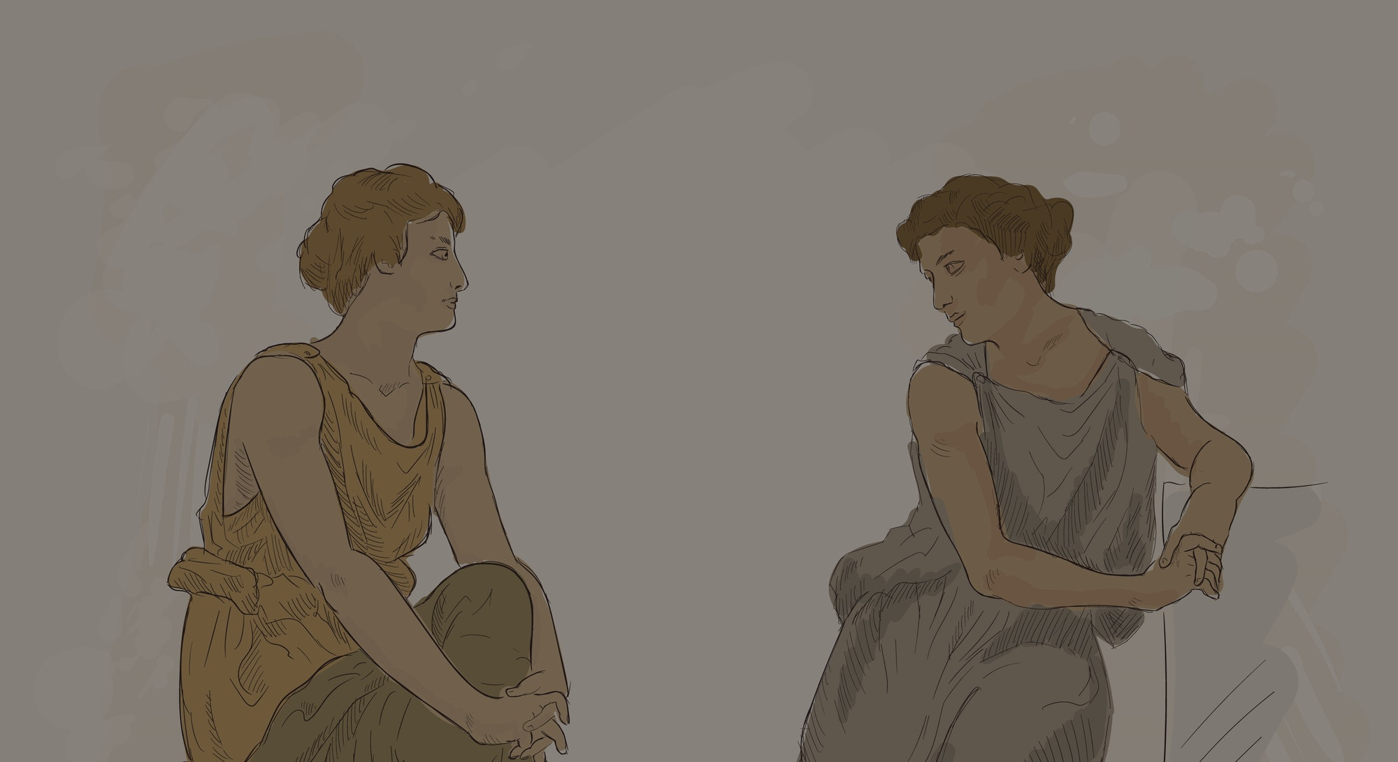 Two ancient Greek women in tunics sit on the parapet and have a conversation. Vector image on beige ...
