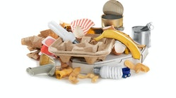 Pile of garbage on white background