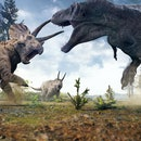 3D rendering of Tyrannosaurus Rex facing off against a Triceratops herd in Hell Creek about 67 milli...