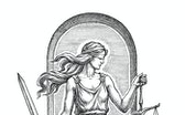 Hand drawn illustration in the engraving style, the goddess of justice Themis with a sword and libra...
