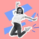 Jumping astonished, happy caucasian woman. Collage in magazine style with bright pink background. Fl...
