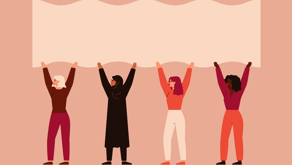 Strong women different nationalities and cultures stand together and pick up blank poster. Vector co...