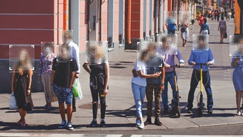 Face recognition and personal identification technologies in street surveillance cameras, law enforcement control. crowd of passers-by. data protection, Photo processing, noise, and blur effects