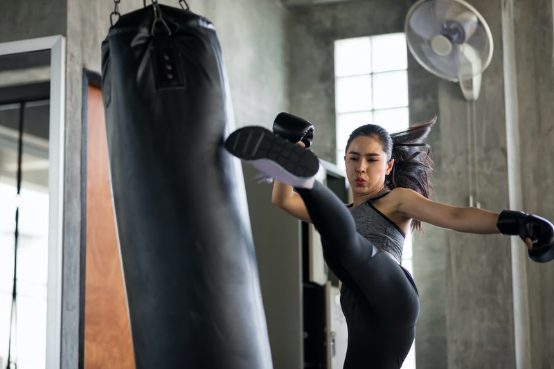 Throwing powerful punches and kicks in boxing is empowering.