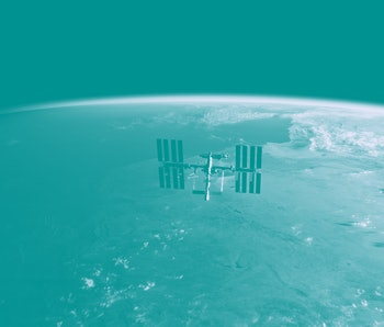 International Space Station (ISS) Orbiting Earth in Space - SpaceX & NASA Research - ISS Satellite Sunset View Low Orbit - 3D Model by NASA - 3D Rendering
