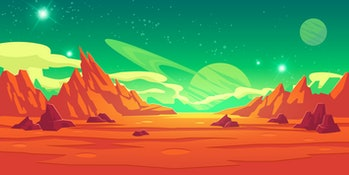 Mars landscape, alien planet background, red desert surface with mountains, craters, saturn and star...