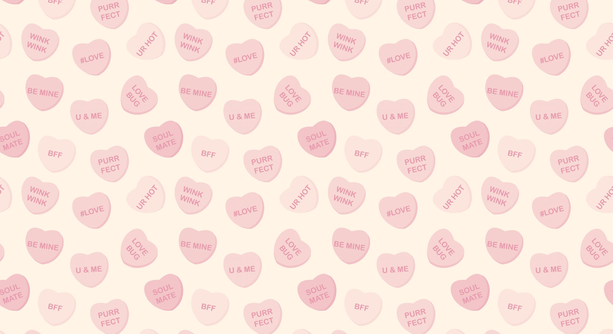 Candy Hearts Seamless Pattern - Pastel rainbow conversation heart candy design for Valentine's Day