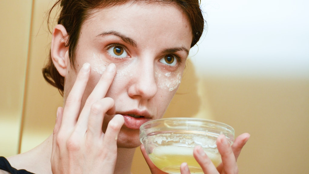 Self picture: Redhead model using albumen or egg white for the dark circles under the puffy, tired eyes
