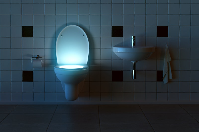 Mysterious Toilet lights from inside (3D Rendering)