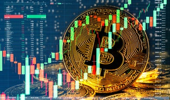 Bull market trend. Cryptocurrency. Bitcoin Stock Growth. Chart shows a strong increase in the price ...