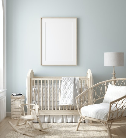Baby nursery with natural wooden furniture