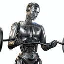 Futuristic robot man working out with barbell. Very strong cyborg lifting heavy weights or training his muscles. Isolated on white background. 3d Illustration.
