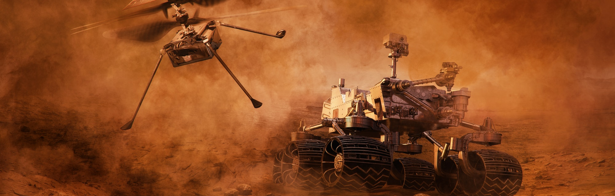 Mars rover and helicopter drone exploring surface of Mars. Image of automated robotic space autonomous vehicle on the red Mars planet. Universe, space exploration, astronomy science concept. 3D render
