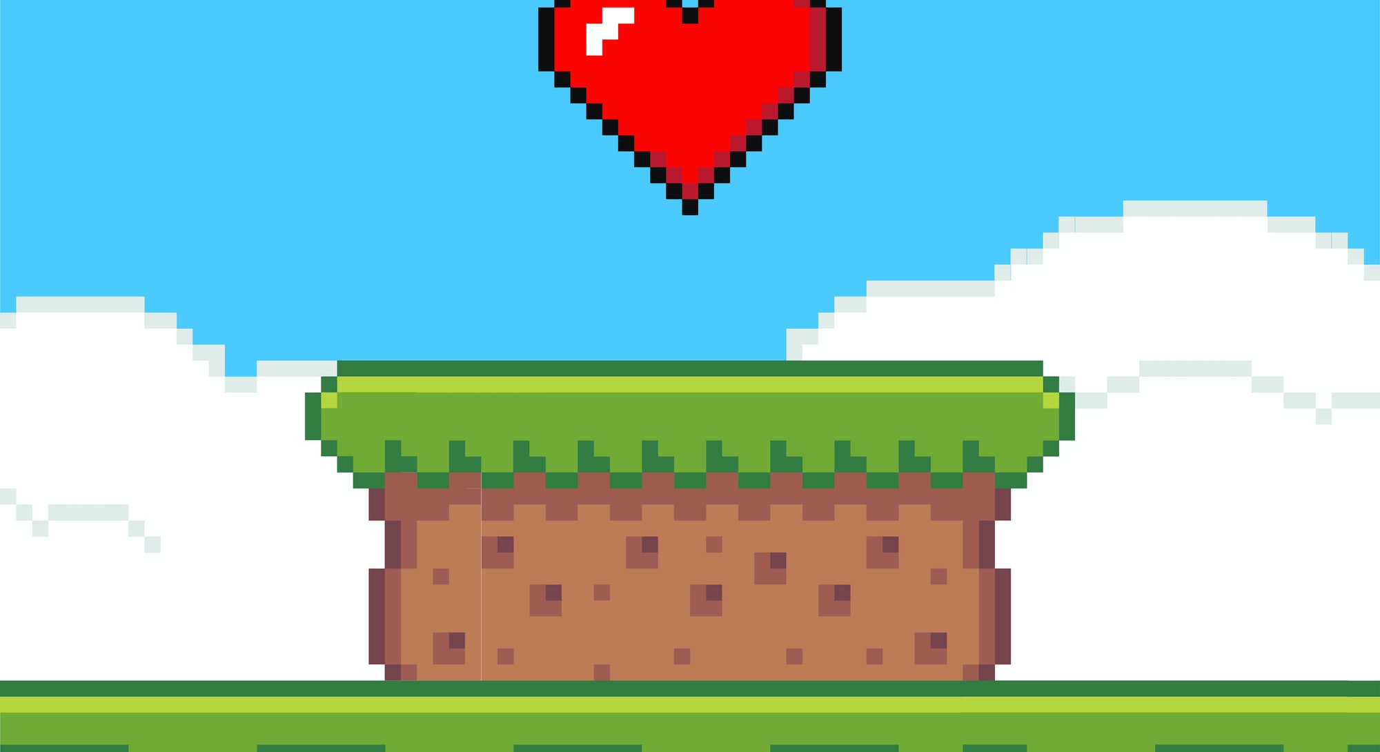Pixel art game background with heart in the sky