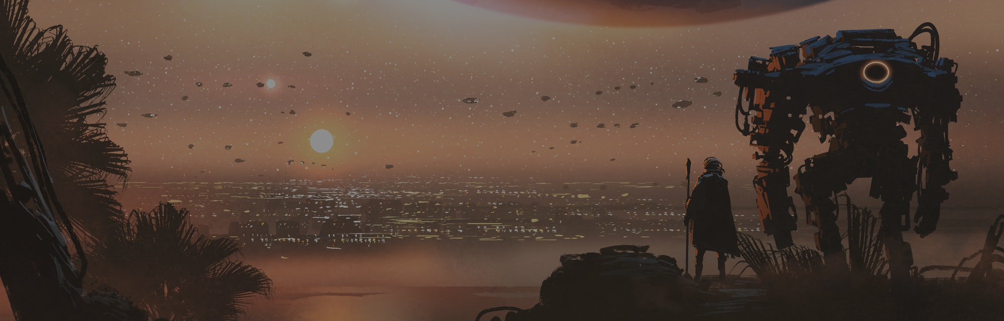 journey concept showing a man with robot looking at a new colony in the alien planet, digital art st...