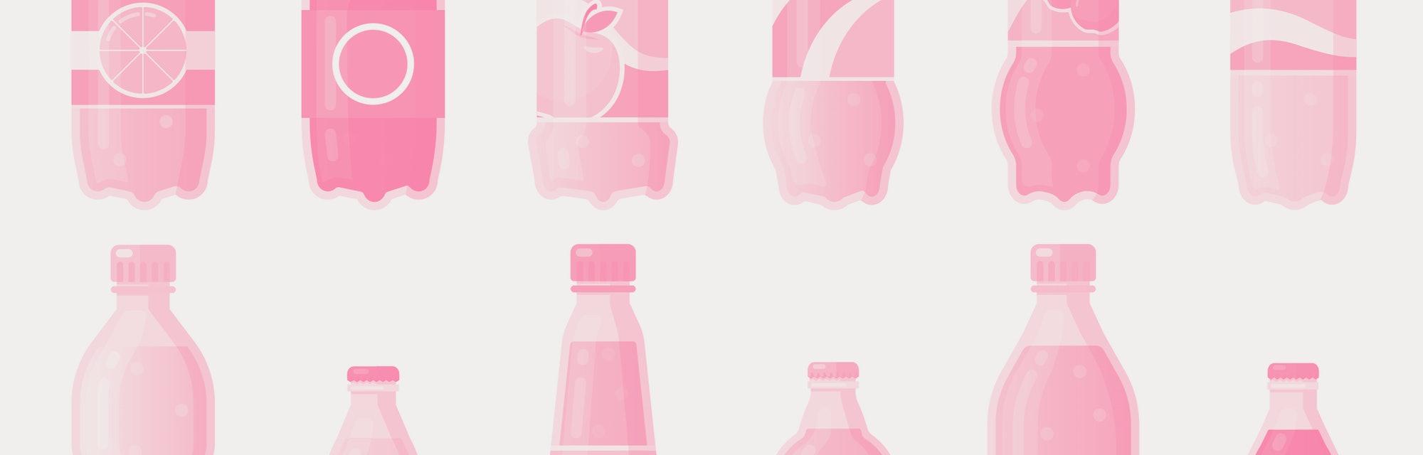 Soda drink bottles. Soft drinks in plastic bottle, sparkling soda and juice drink. Fizzy beverages isolated vector illustration icons set. Beverage drink bottle, water soda juice collection