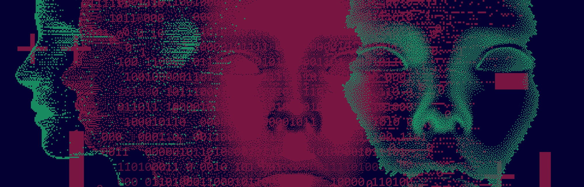 An abstract art piece depicting the front of faces in neon green and pink in a hyper-disconnected, hacked form.