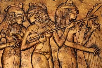 ancient egyptian women in bronze relief
