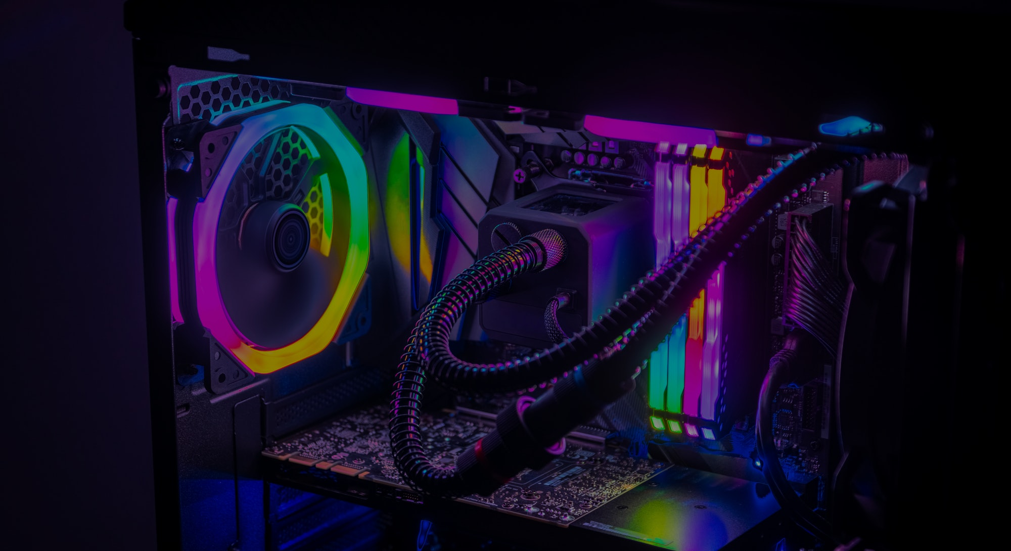 Gaming PC with RGB LED lights on a computer, assembled with hardware components