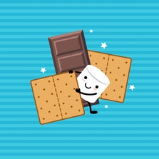 Marshmallow Cartoon Character , chocolate  and Graham Crackers. S'more vector illustration. Isolated objects on a striped background.