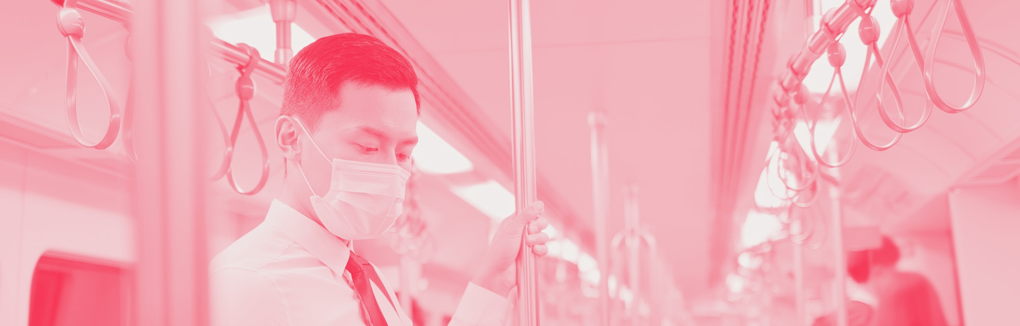 Asian business man with surgical mask face protection use a smartphone  and keep social distancing t...