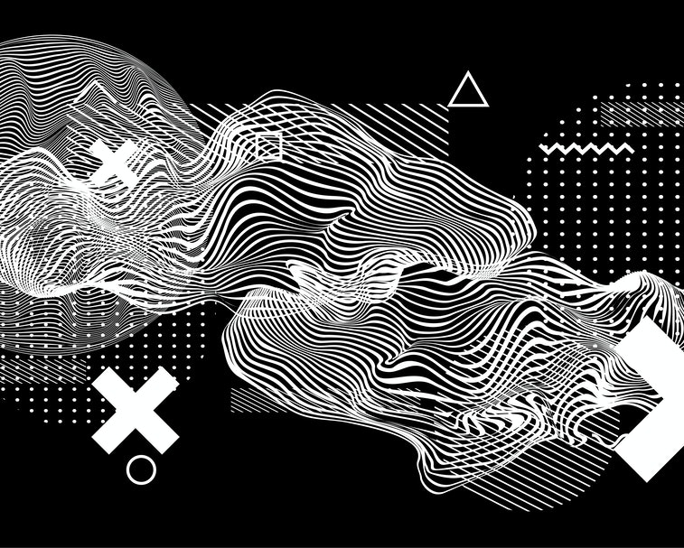 Abstract minimal vector black and white poster template with glitched generative art geometric composition. High-tech/ cyberpunk technologies of future/ virtual reality.