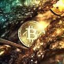 Bitcoin mining in deep golden cave - 3d illustration.