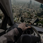 Driving a flying car to solve traffic problem, photo manipulation