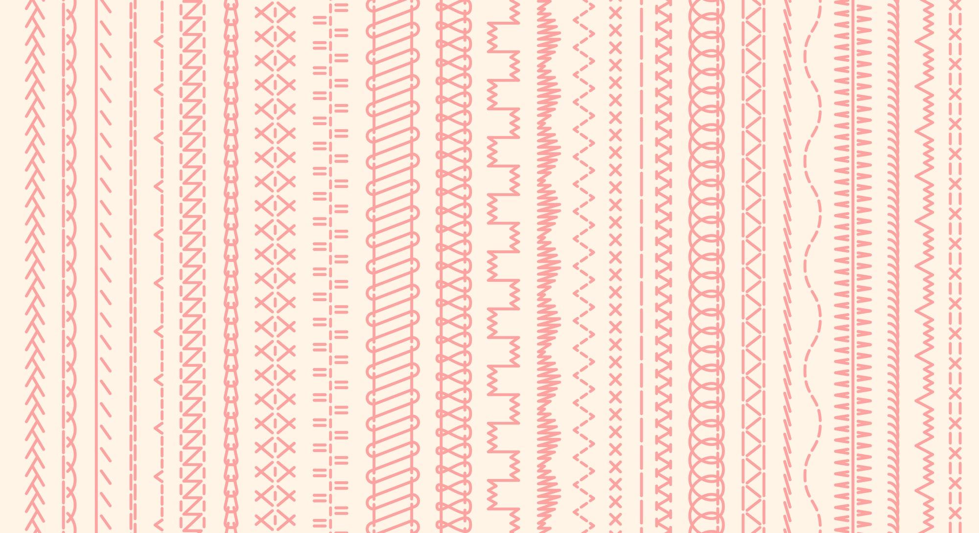 Sewing machine stitches. Stitching seams, stitched sew seamless pattern brush and embroidery sews stitch vector illustration set