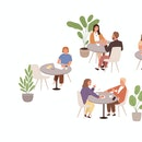 People sitting at tables in cafe or restaurant vector flat illustration. Man, woman and couple talki...