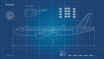 Aircraft in outline style. Blueprint of civil plane. Side view of airplane. Industrial drawing. Jet engine on blue background. Vector illustration