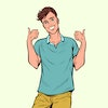 thumbs up gesture young man. Pop art retro vector illustration drawing vintage kitsch