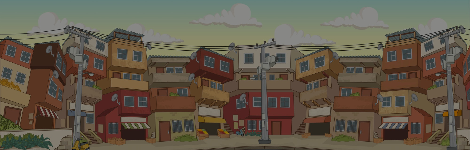 Street of poor neighborhood in the city. Slum. Favela.