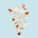 Fresh milk or yogurt splash swirl with cereals, hazelnuts, almonds, cornflakes isolated. Healthy breakfast meal with milk, cream, yogurt, muesli spiral. Liquid  splash design. Clipping path 3D render