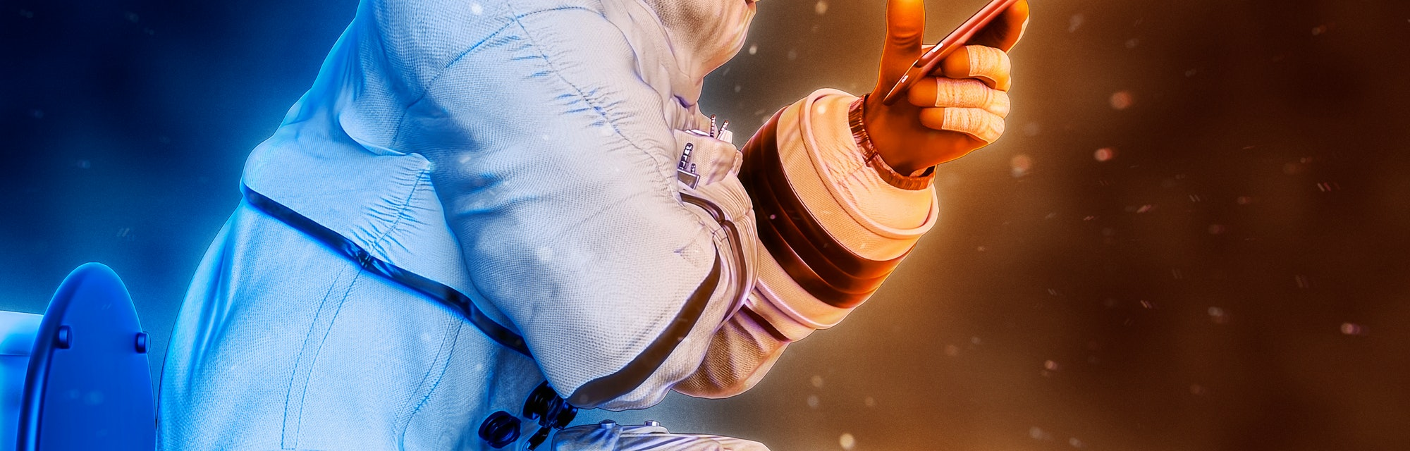 astronaut reading a tablet on the toilet close up side view, 3d illustration