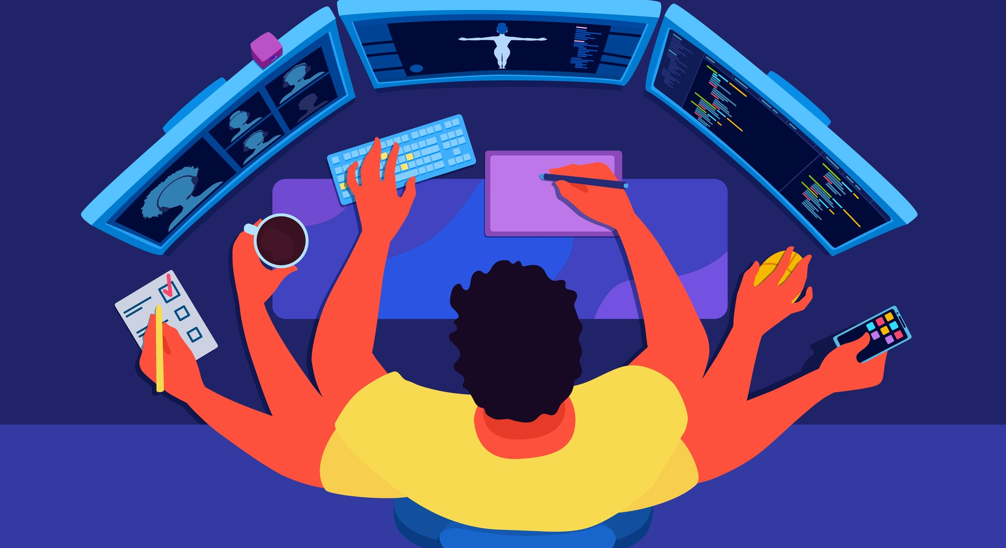 An indie developer, programmer with many hands doing all work by himself. A freelancer working at home, drawing, programming a video game. A multitasking concept. A view from above.